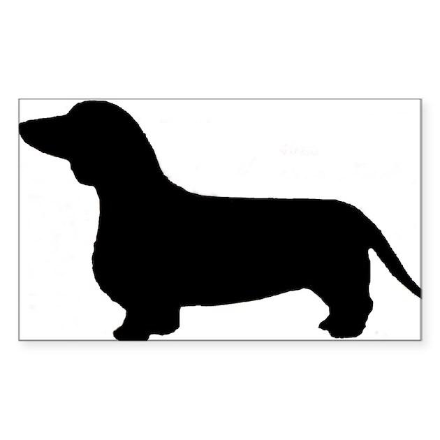 Dachshund silhouette sticker rectangle by thecraftyturtle
