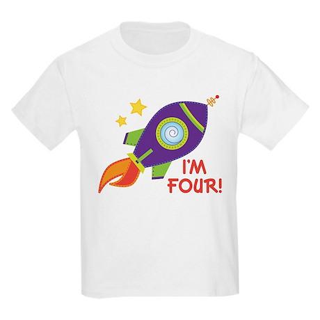 4th Birthday Rocketship Kids Light T-Shirt