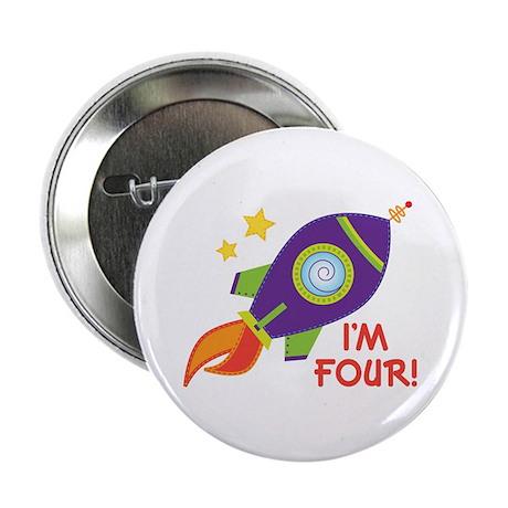 "4th Birthday Rocketship 2.25"" Button"