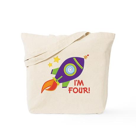 4th Birthday Rocketship Tote Bag