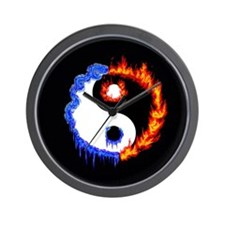 Ying Yang Ice and Fire Wall Clock