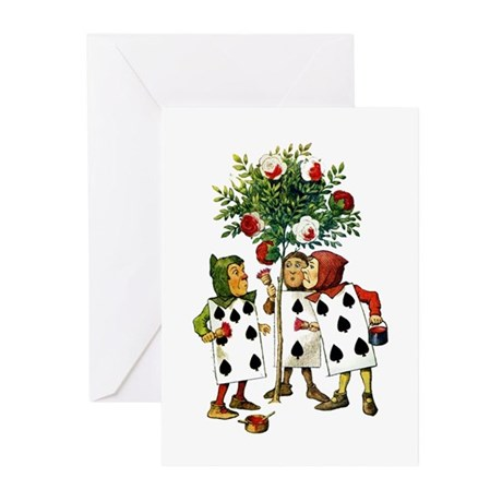 ALICE- PAINTING THE QUEENS ROSES Greeting Cards (P