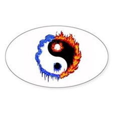 Ying Yang Ice and Fire Oval Decal