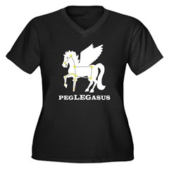 Peglegasus Women's Plus Size V-Neck Dark T-Shirt
