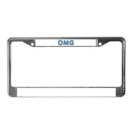 OMG blue License Plate Frame