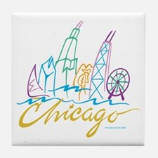 Chicago Stylized Skyline Tile Coaster