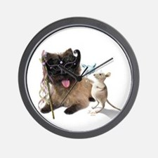 Cairn Terrier with Rat Wall Clock