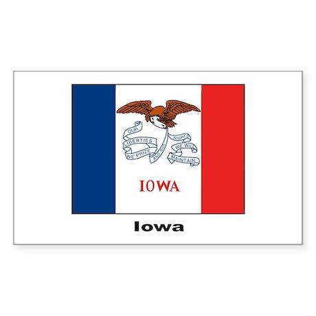 Iowa State Flag Rectangle Sticker