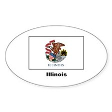 Illinois State Flag Oval Decal