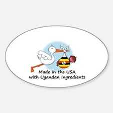 Stork Baby Uganda USA Sticker (Oval)