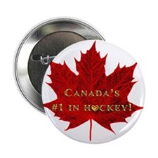 """Canada's #1 in Hockey Gold Heart 2.25"""" Button"""