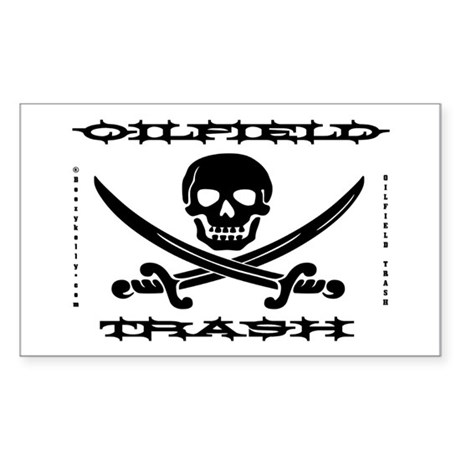 Oil Field Trash,Skull,Bones Sticker (Rectangle)