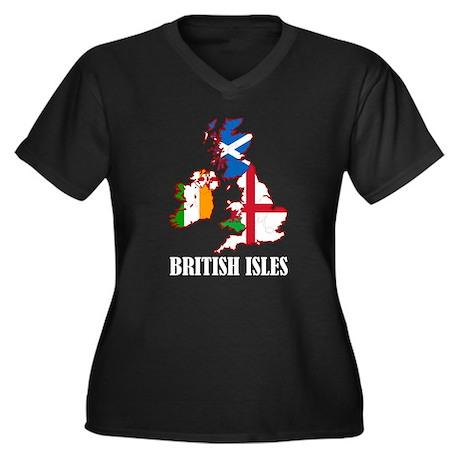 British Isles Women's Plus Size V-Neck Dark T-Shir