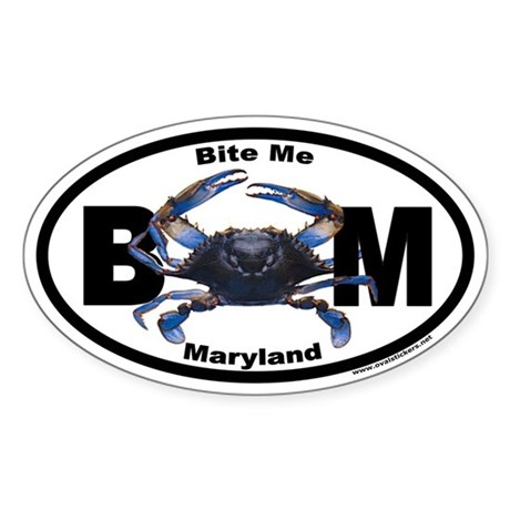 Maryland Blue Crab Euro Oval Sticker