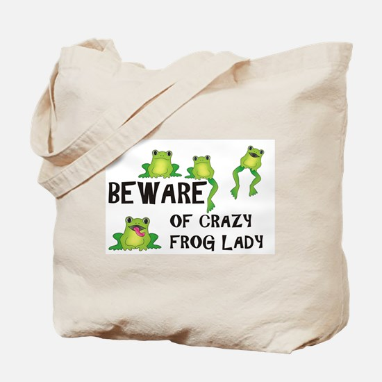 Beware of Crazy Frog Lady Tote Bag