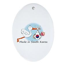 Stork Baby South Korea Ornament (Oval)