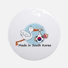 Stork Baby South Korea Ornament (Round)