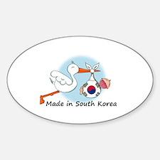 Stork Baby South Korea Sticker (Oval)