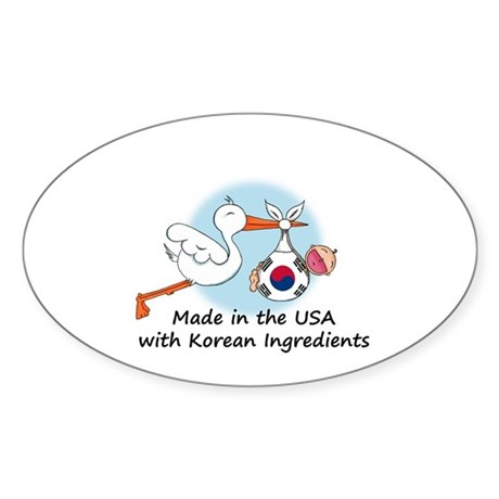 Stork Baby South Korea USA Sticker (Oval)
