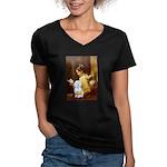 Reading / Maltese Women's V-Neck Dark T-Shirt