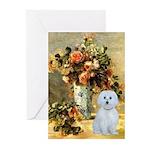 Vase / Maltese (B) Greeting Cards (Pk of 20)