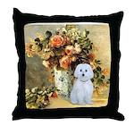 Vase / Maltese (B) Throw Pillow