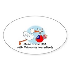 Stork Baby Taiwan USA Decal