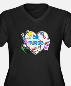 OB Nurse Women's Plus Size V-Neck Dark T-Shirt