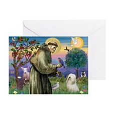 St. Francis & Tibetan Terrier Greeting Card
