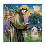 St. Francis & Tibetan Terrier Tile Coaster