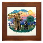 St Francis #2/ Belgian Shep Framed Tile