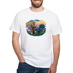 St Francis #2/ Belgian Shep White T-Shirt