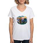 St Francis #2/ Belgian Shep Women's V-Neck T-Shirt