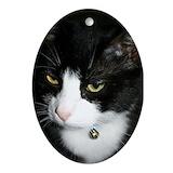 Tuxedo cat Oval Ornaments