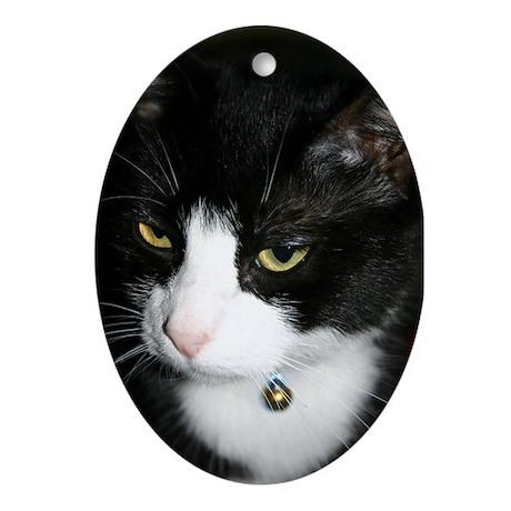 Tuxedo Cat Oval Ornament