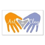Art in Clay / Heart / Hands Sticker (Rectangle 50