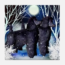 POODLE DOGS WINTER Tile Coaster