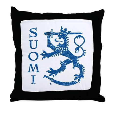 Suomi Coat of Arms Throw Pillow