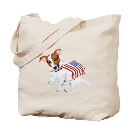 Jack Russell With USA Flag Tote Bag