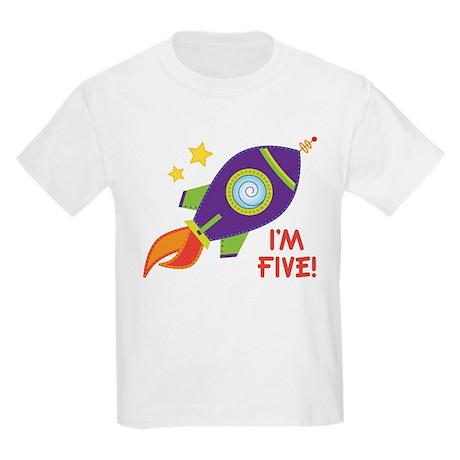 5th Birthday Rocketship Kids Light T-Shirt