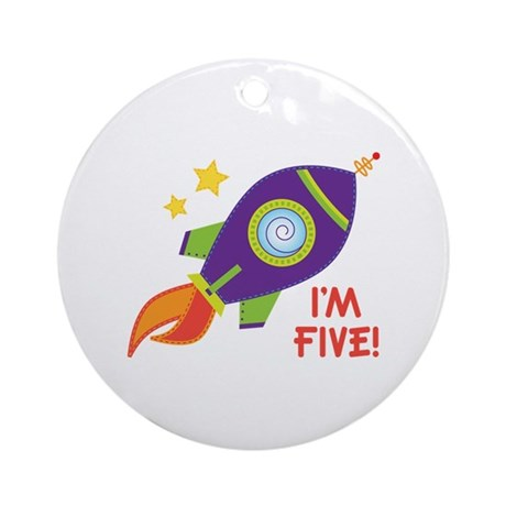 5th Birthday Rocketship Ornament (Round)