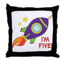 5th Birthday Rocketship Throw Pillow