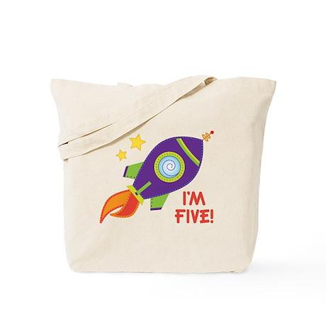 5th Birthday Rocketship Tote Bag