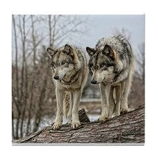 Wolf Pair Tile Coaster
