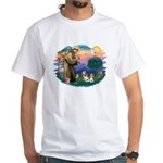 St Francis #2/ Cavalier (2 bl) White T-Shirt