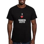 I heart sober guys Men's Fitted T-Shirt (dark)