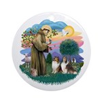 St Francis 2F - Two Shelties Ornament (Round)