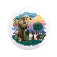 """St Francis 2F - Two Shelties 3.5"""" Button"""