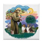 St Francis 2F - Two Shelties Tile Coaster
