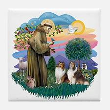 St Francis 2F - Two Shelties Tile Coaster